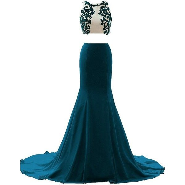 JAEDEN Appliqued Two Piece Evening Dresses Long Sexy Mermaid Prom... (385 BRL) ❤ liked on Polyvore featuring dresses, gowns, long prom dresses, long gown, long white evening dress, two piece homecoming dresses and sexy long gowns