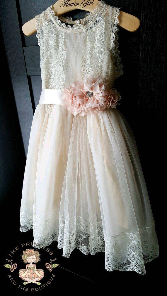 e05b79ecd85b0 flower girl dress, lace flower girl dress, ,rustic flower girl dress, ivory  champagne blush flower girl dress, baby toddler girls dress