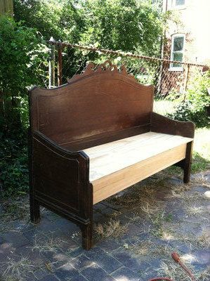 Recycling a Headboard / Foot board into a Bench. Love this! One of the best examples I've seen so far.