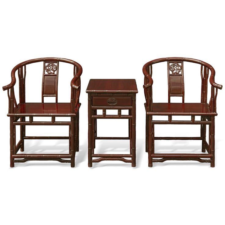 "Red Sandal Bamboo Motif Tai Shi Chair Set-his set of chair will bring natural charm to any contemporary setting. Each chair measures 25.5""W x 26""D x 35.5""H, and the table measures 17.5""W x 22""D x 27""H, with an operable drawer 13.5"" x 18"" x 3.5"". Sold as a set. Silk cushions sold separately"