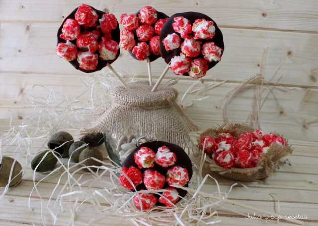 Piruletas de chocolate y popitas (palomitas dulces)