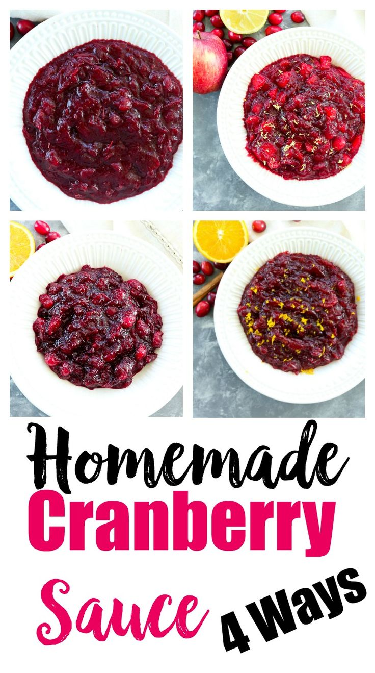 Homemade Cranberry Sauce 4 Ways #christmasrecipes #thanksgivingrecipes #sidedish #healthy #cranberrysauce