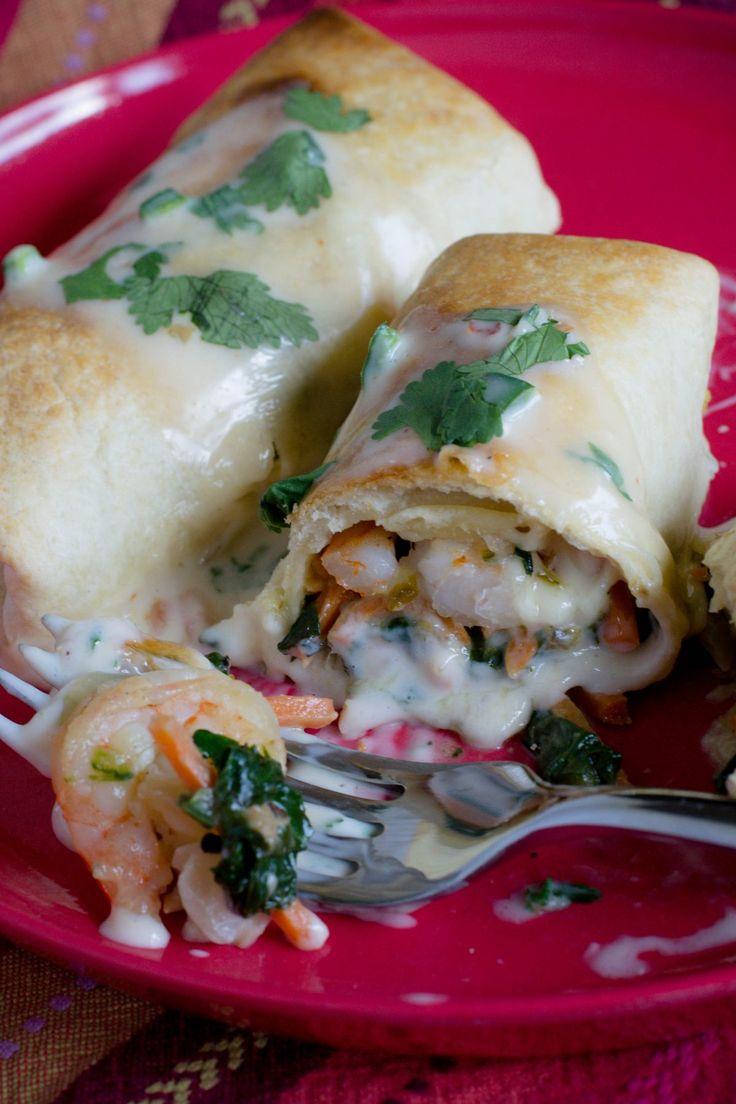 Shrimp Burritos with Poblano Pepper Jack Sauce