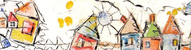 """""""Graffi di case"""" acrilico e carboncino su tavola di legno con ricopertura di gesso cm190X23"""