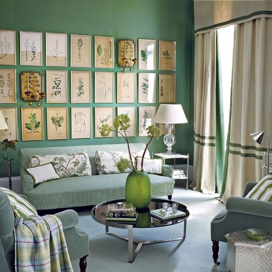 This jade green living room looks so fresh with botanical prints!