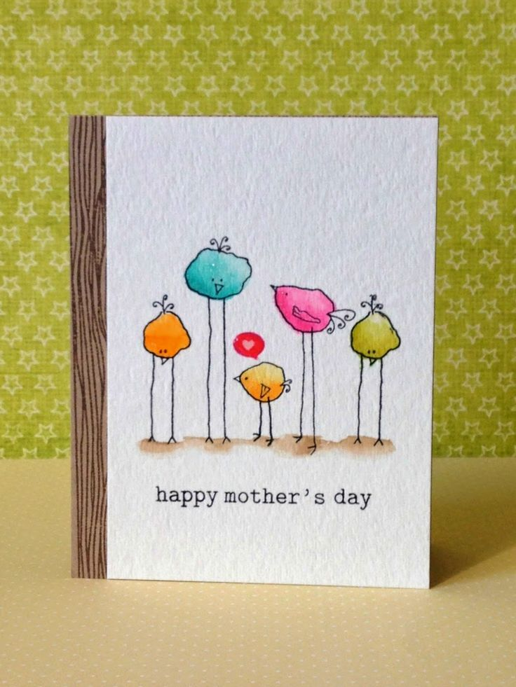 The chickadees from Technique Tuesday are full of color - water color, that is - on this handmade Mother's day card.  Super easy coloring is great on the mostly white card with woodgrain edging.