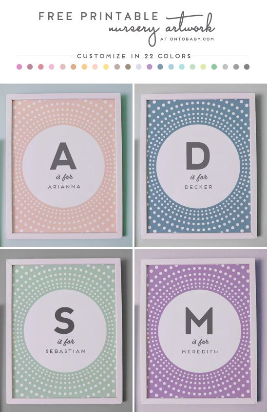 Customize it with your child's initial and name for FREE! So darn cute. Free Printable Nursery Artwork