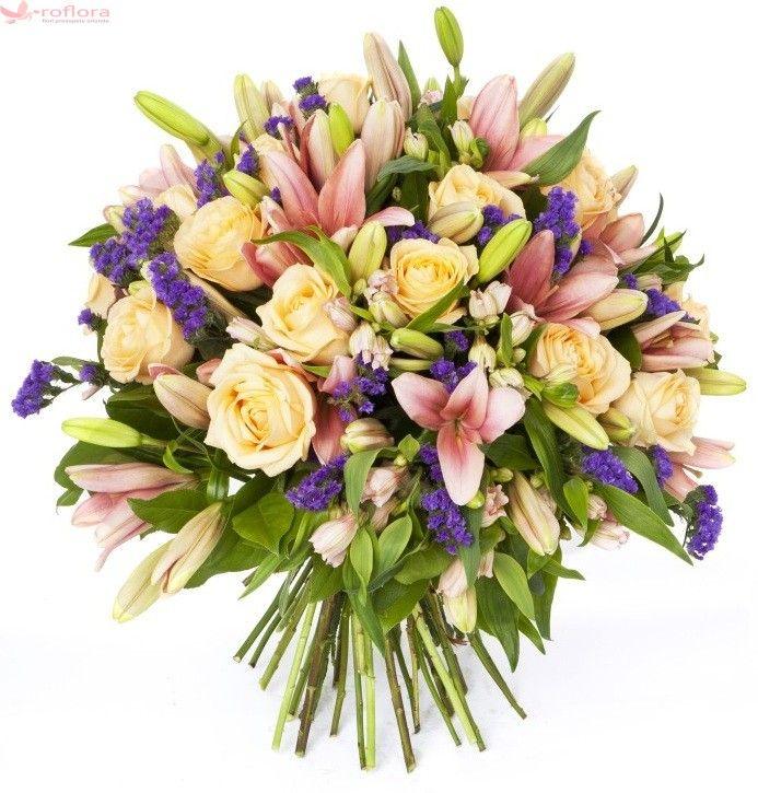 Buchet de flori proaspete ce contine trandafiri galbeni, crini roz. Este livrat in aceeasi zi de un florar local cu experienta, partener Roflora.