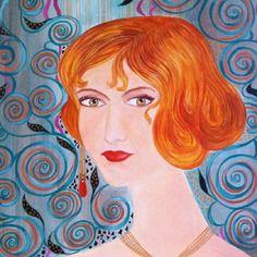 Portrait femme acrylique sur carton entoile alice aux yeux d or  http://www.alittlemarket.com/boutique/lumeline-172298.html