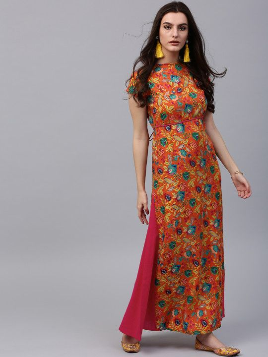 fc51bec6d08 AKS Women Orange Printed Maxi Dress -