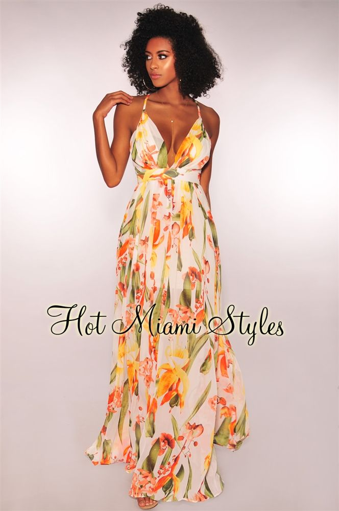 f91a327e01e White Tropical Floral Print CrissCross Maxi Dress