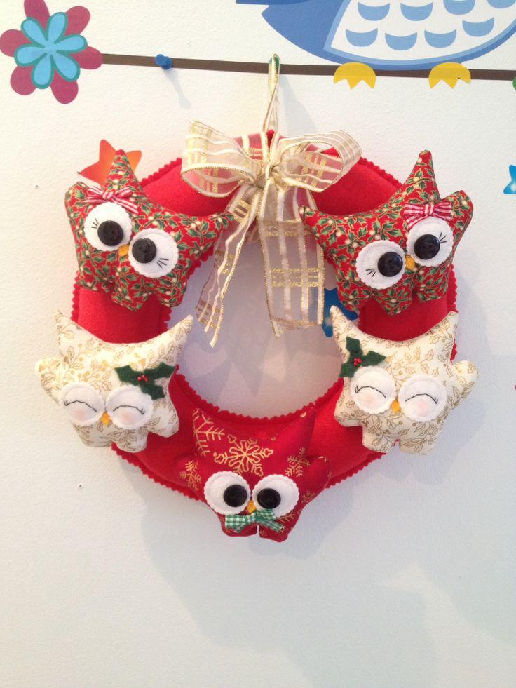 Christmas Handmade Hoot Wreath