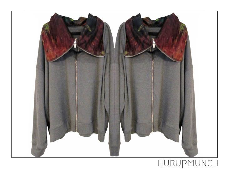 Cotton mix sweat shirt with silk cotton mix batic printed lining. Awailable in Beware of Limbo Dancers Dkk 749,-