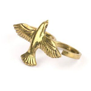 Vintage brass gold plated swallow dove double finger adjustable ring by 81stgeneration 81stgeneration. $26.95
