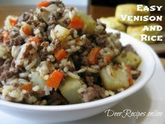 Easy Venison and Rice is a quick simple meal made up of fried ground venison, onions, garlic, carrots, potatoes, and rice and then lightly doused with soy sauce. This recipe can be a side dish or the main course. #venison #rice #venisonandrice #meatandveggies #DeerRecipes