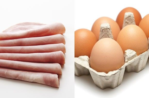Breakfast under 100 calories 1 medium egg: 78 calories 1 wafer thin slice of ham: 19 calories Total calories = 97