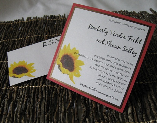 The Sunflower Wedding Invitation ~ by This & That Creations. Invite printed on white card stock with layers of bronze shimmer paper and a melon weave card stock. The sunflower is carried over to the reply post card.