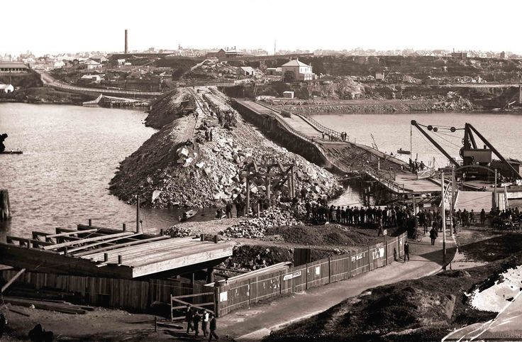 The collapse of the old Glebe Island Bridge in August 1899.