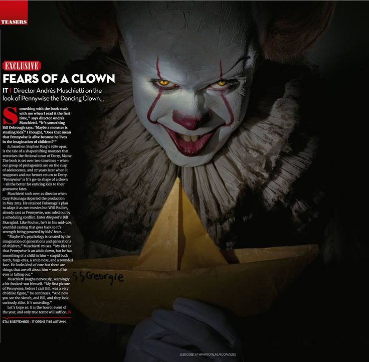 """New image of Pennywise from """"It"""" (2017) from Total Film Magazine"""