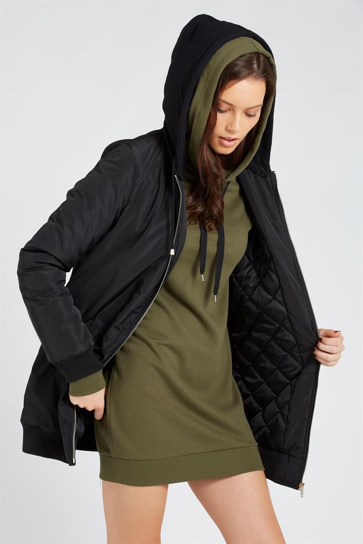 Longline Anorak Hooded Bomber Jacket <br> <br> Our Longline Anorak Hooded Bomber Jacket is actually what you need this winter! This winter jacket features a hood with faux fur trimming, a baggy/oversized fit, longer length, oversized front pockets and zip details on chest and sleeve. Available in black and khaki, this jacket will totes have your back when the weather gets way too chill. <br> <br> - Longline hooded jacket <br> - Front pockets <br> - Zip...