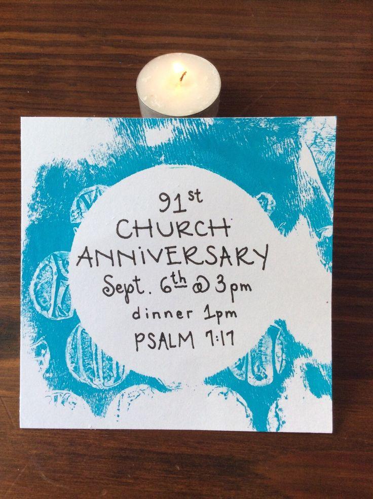 Church Anniversary / Pastor's Anniversary Announcements (custom hand-crafted and handwritten individually: https://www.etsy.com/listing/255665991/church-anniversary-invitations