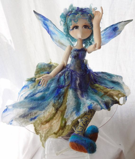Shy Little Morning Glory- OOAK art Doll, Nuno Felted Fairy