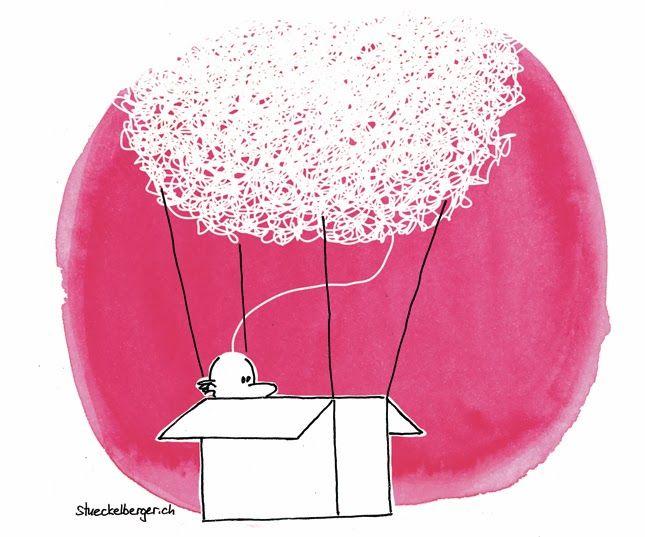 Cartoon für Wirtschaftsmagazin Thinking outside the Box