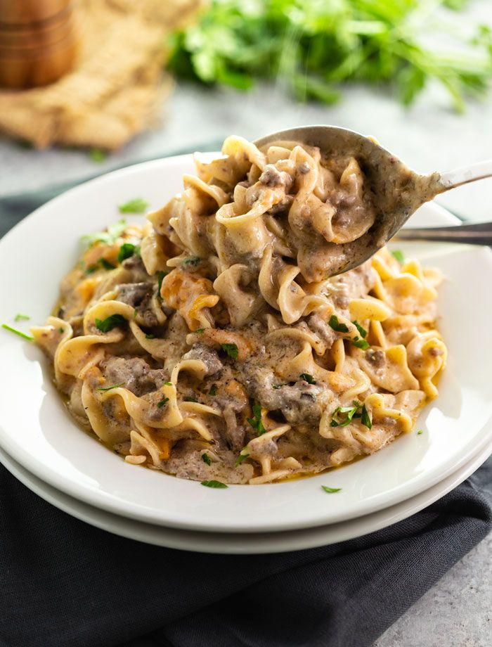 This Easy Make Ahead Casserole Is Everything You Love About Beef Stroganoff With The Conve Ground Beef Stroganoff Ground Beef Beef Stroganoff Casserole Recipe