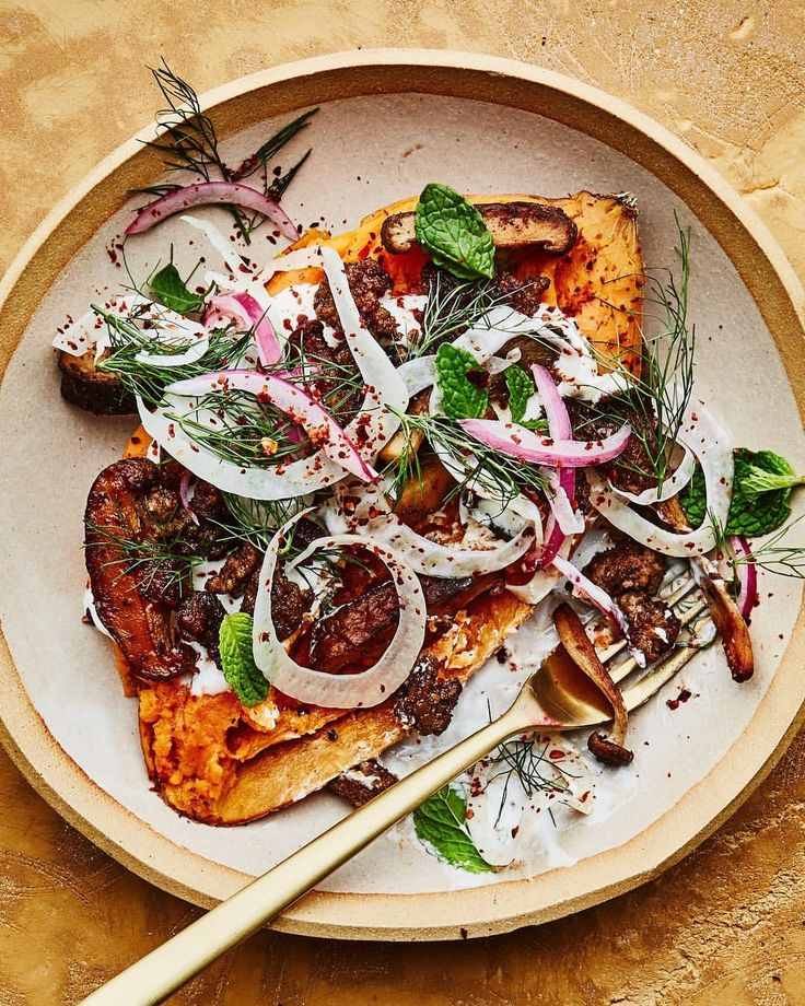 Ground lamb with mushrooms, fennel and yogurt sauce over sweet potato