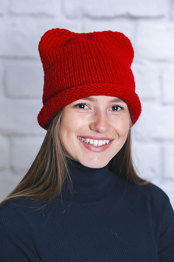 fd6a2a2d Red winter hat Red winter beanie Red beanie women Red hat women Animal  beanie Cat beanie hat Beanie | 'Clothes, Shoes, Hats | Winter hats, Hats, Beanie  hats