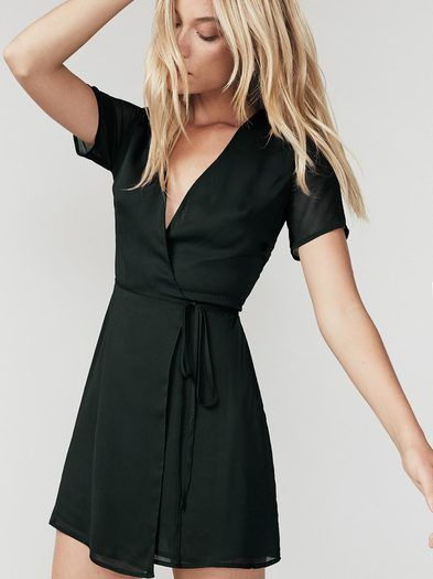 Wrap dresses - kind of like giving your waist a hug. This is a v neck, fit-and-flare dress with a wrap skirt.