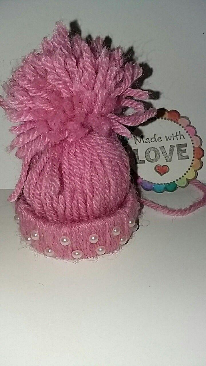 Cappellino rosa di Natale con perline