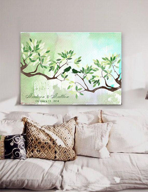 Wedding Guest book  tree on canvas 200 sign with birds in love green colour leaves on watercolor background Choose your colours