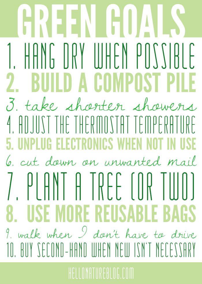 Green Goals   Eco Friendly Living #gogreen #ecofriendly #goals