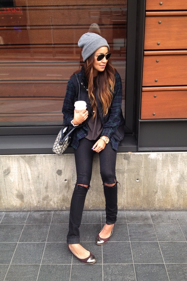 So me..flats, ripped skinnes, beanie, flannel. My autumn wardrobe.
