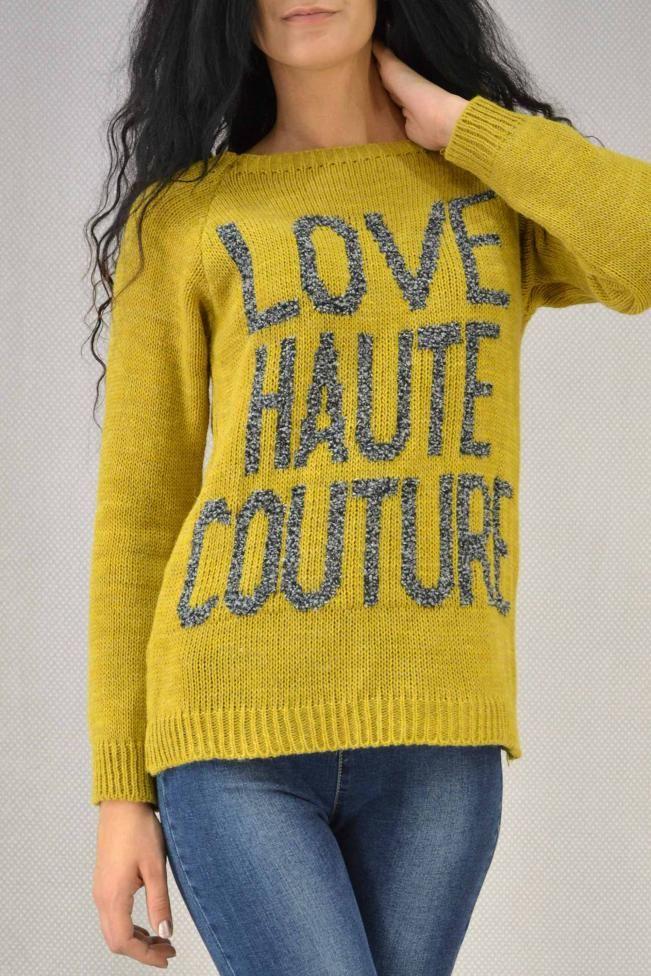 Γυναικείο πουλόβερ με κείμενο  PLEK-2704-mu Πλεκτά - Πλεκτά και ζακέτες