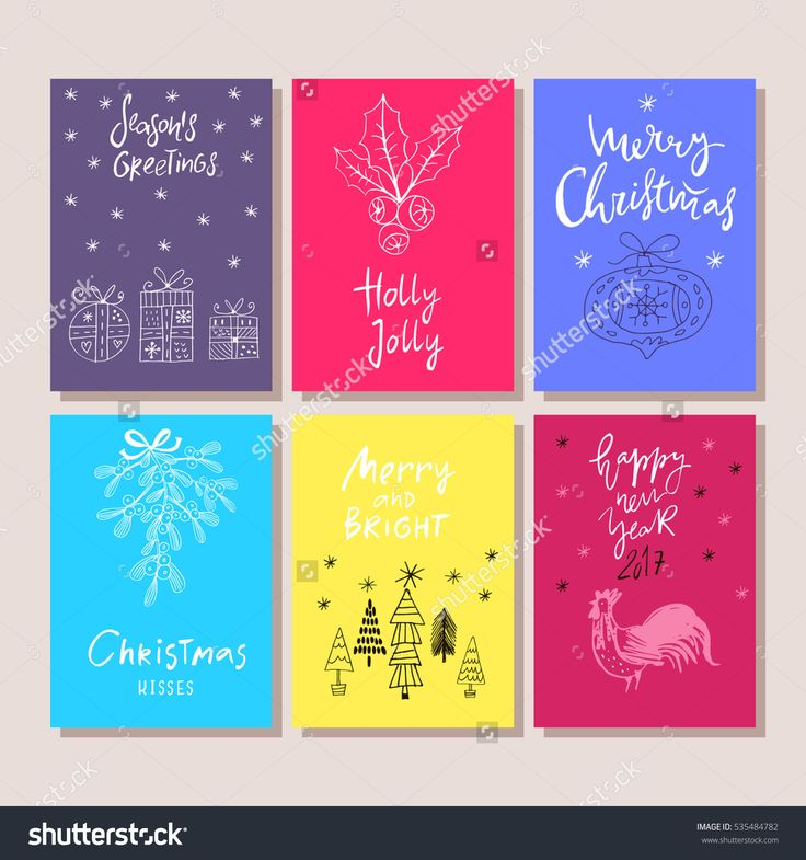 Hand Drawn Christmas Set Cards. Holiday Background.Unique Hand Drawn Greeting Cards.Vector Illustration. - 535484782 : Shutterstock