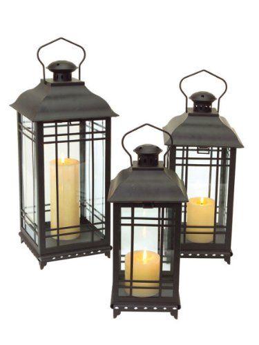 set of 3 black mission style decorative glass pillar candle lanterns melrosehttp - Decorative Lanterns