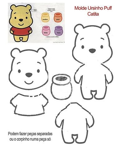 pattern for Pooh felt ornament. Molde ursinho