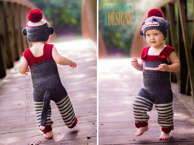 Lavora all'uncinetto il modello PDF per fare un classico calzino scimmia cappello pagliaccetto e tuta costume per bambini e bambini di IraRott Inc.