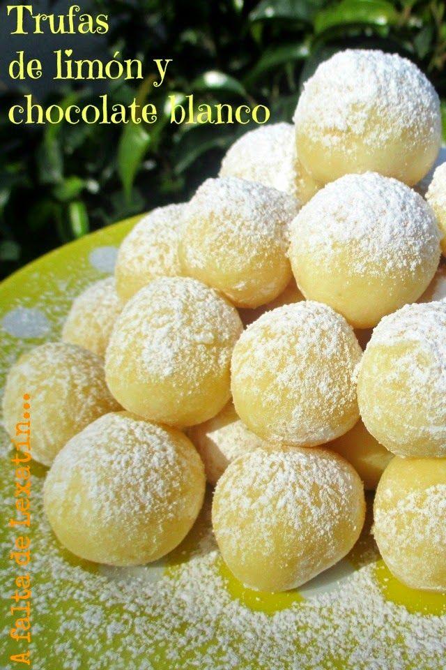 Trufas de limón y chocolate blanco: 250 gr de chocolate blanco 80 gr de nata de montar 75 gr de mantequilla Ralladura de piel de un limón 2 cucharita de zumo de limón Azúcar glas o granulada para rebozar, a vuestro gusto
