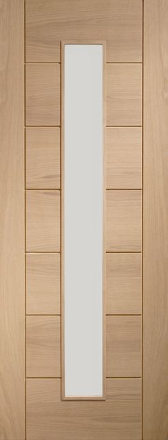 Palermo+Oak+Prefinished+1L+Glazed+Door 35mm+dowelled+non-fire+rated+internal+door+in+natural+Oak+veneer,+factory+finished+in+clear+lacquer.+Glazed+with+clear+toughened+glass,+protected+by+film+to+be+removed+after+applying+finish+(Paint'N'Peel).+Available+in+a+wide+range+of+standard+imperial+sizes+with+10+years+manufacturing+guarantee.+FSC+certified…