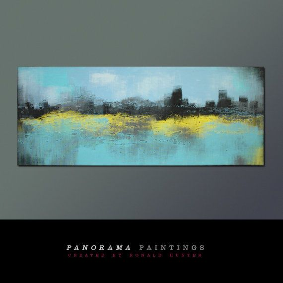 """Landscape Abstract painting -  Skyline City lights - Acrylic Modern Art - 59.1"""" x 23.6""""  Panorama Paintings on Etsy, $419.00"""