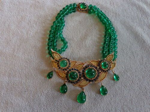 Trifari-A-Philippe-Jewels-Of-India-Triple-Strand-Centerpiece-Dangle-Necklace