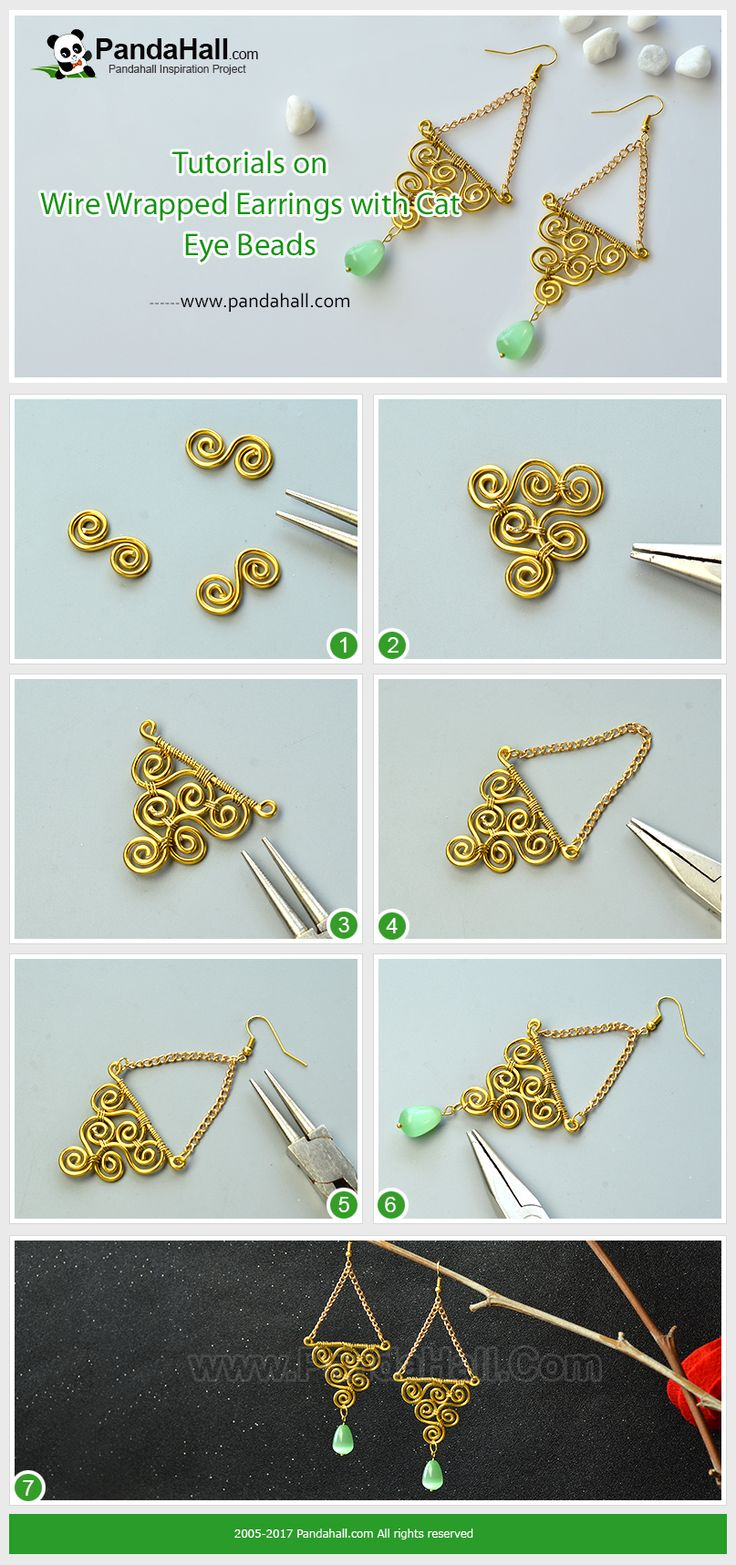 Tutorials on Wire Wrapped Earrings with Cat Eye Beads Through wrapping the wires, the earrings can be easily finished. The cat eye bead pendant is an important highlight of the earrings.