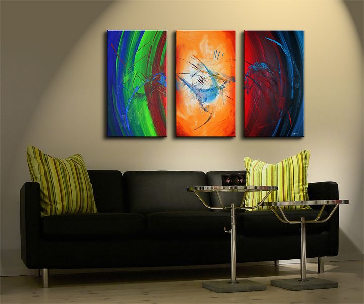 ABSTRACTE SCHILDERIJEN: Deze abstract geschilderde drieluik heeft prachtige moderne kleuren