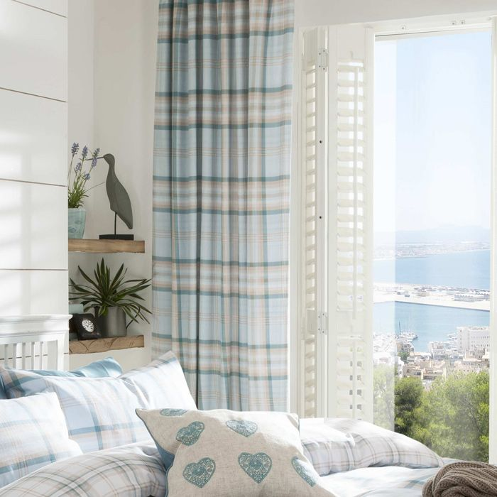 Ready Made Curtains In Duck Egg Tartan Buy Now Pencil Pleat Header 66