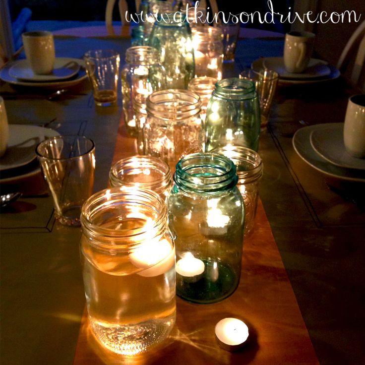 Mason Jar Candles Centerpiece.