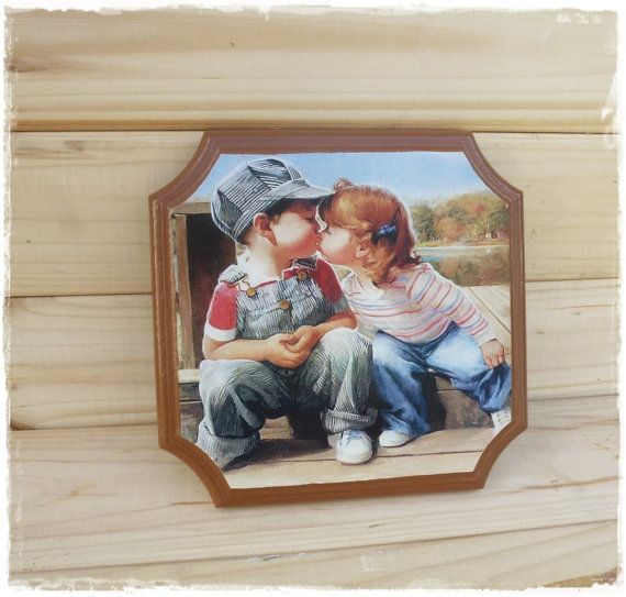 Panels on the wall Wooden Panels Decoupage Panels picture on the wall Loving children kiss gift for children
