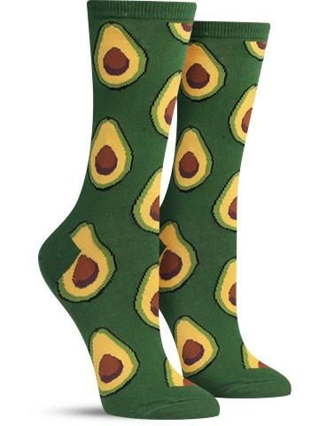 avocado awesome food socks for women, in purple